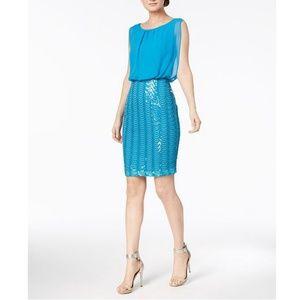Calvin Klein Sequined Mesh Dress Cerulean